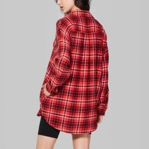 🌻WILD FABLE NWT Oversized Red Black Flannel